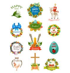 Easter cartoon label and badge set design vector