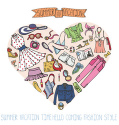 Sammer fashion setwomancolored wear in heart vector