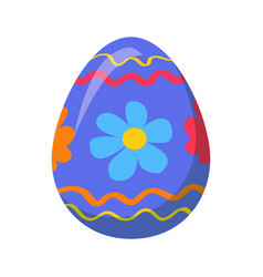 Easter egg with ornamental lines and blue flowers vector