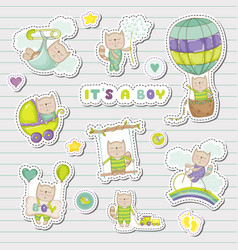 Baby boy stickers for baby shower party vector
