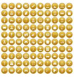 100 working professions icons set gold vector