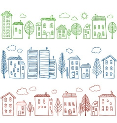 Houses doodles seamless pattern vector