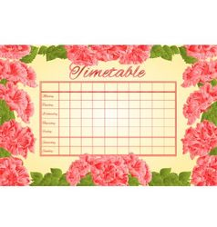 Timetable weekly schedule with pink hibiscus vector