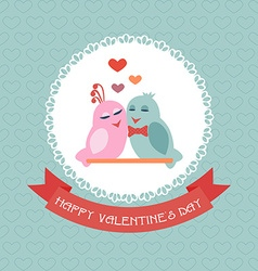 Card for valentines day birds ribbon label vector