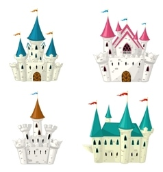 Collection of cartoon fairytale castle vector