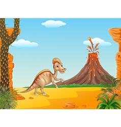 Duck billed hadrosaur in prehistoric background vector