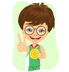 Little boy with a first place medal vector
