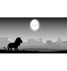 Lion in meadow vector