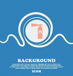 Fire extinguisher icon sign blue and white vector