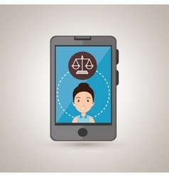 Man smartphone with justice isolated icon design vector