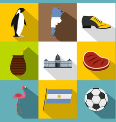 Argentina icon set flat style vector