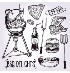 Barbecue food set line art vector image