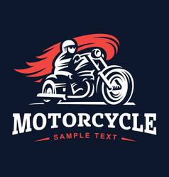 biker fire motorcycle retro emblem and label vector image vector image