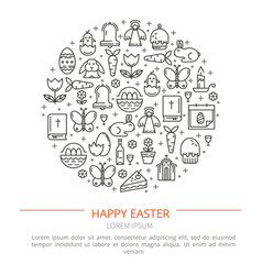 brochure with icons of easter vector image vector image