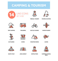 Camping and tourism - line design icons set vector