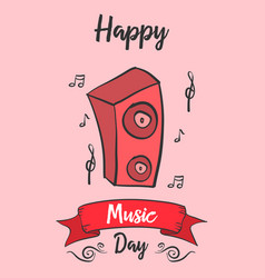 Card of world music day style vector