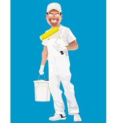 cartoon smiling man painter with tools vector image vector image