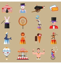 Circus retro flat icons set print vector