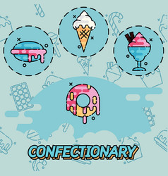 Confectionary flat concept icons vector