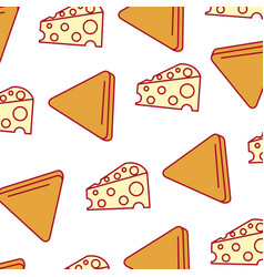 Delicious cheese with nachos pattern background vector