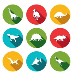 Dinosaurs flat icons set vector image vector image