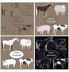 Farm animals on dark background vector