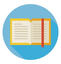Flat Open Book with Bookmark Circle Icon with Long vector image vector image