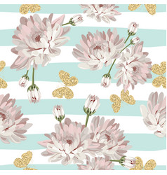 floral seamless pattern with glittering vector image vector image