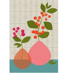 flowers berries vases vector image vector image