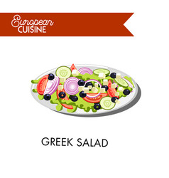 fresh greek salad from european cuisine isolated vector image