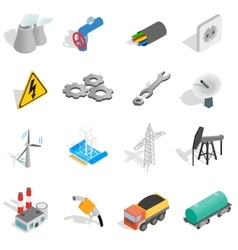 Industrial icons set isometric 3d style vector image
