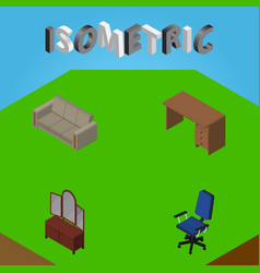 Isometric design set of couch office table and vector