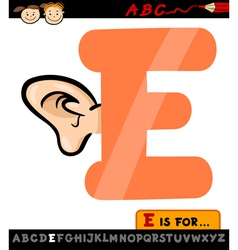 letter e with ear cartoon vector image