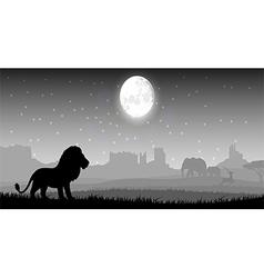 Lion in meadow vector image vector image