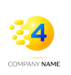 Number four splash logo yellow dots and bubbles vector