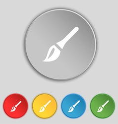 Paint brush artist icon sign symbol on five flat vector