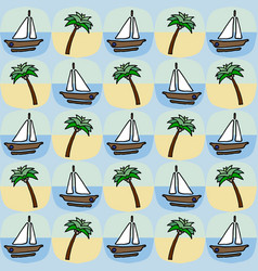 palm and boat seamless pattern vector image