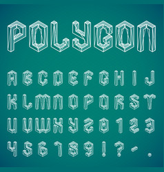Polygon alphabet and numbers vector