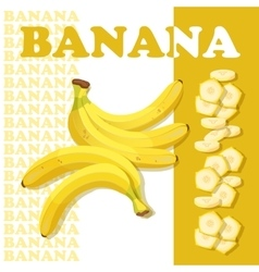 Rpe banana and slices Flat style healthy food vector image vector image