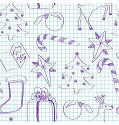 Seamless child sketched christmas pattern vector