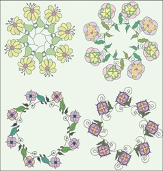 Set of cute hand drawn wreaths floral frames vector