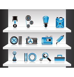 shelf with car parts vector image vector image