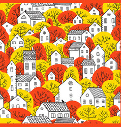 trees and houses seamless pattern autumn red vector image