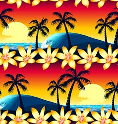 Tropical hibiscus and palm tree at sunset seamless vector