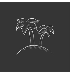 Two palm trees on island drawn in chalk icon vector