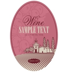 Wine label with landscape village vector