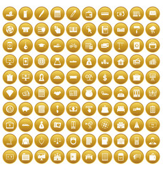 100 credit icons set gold vector