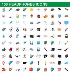 100 headphones icons set cartoon style vector image