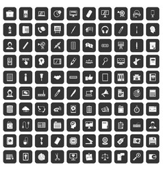 100 office work icons set black vector