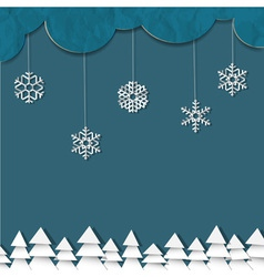 Blue background with paper snowflakes and vector image
